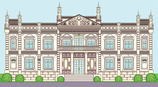 The facade of a Palace in classical European style