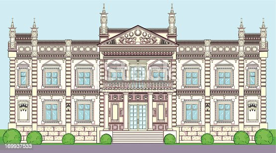 The facade of a Palace in classical European style.