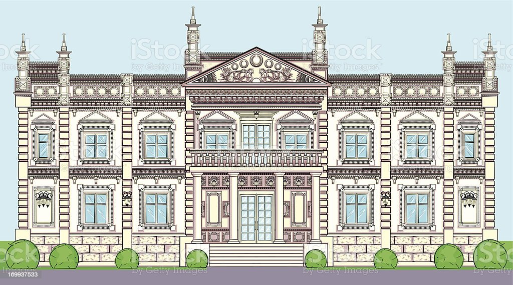 The facade of a Palace in classical European style vector art illustration