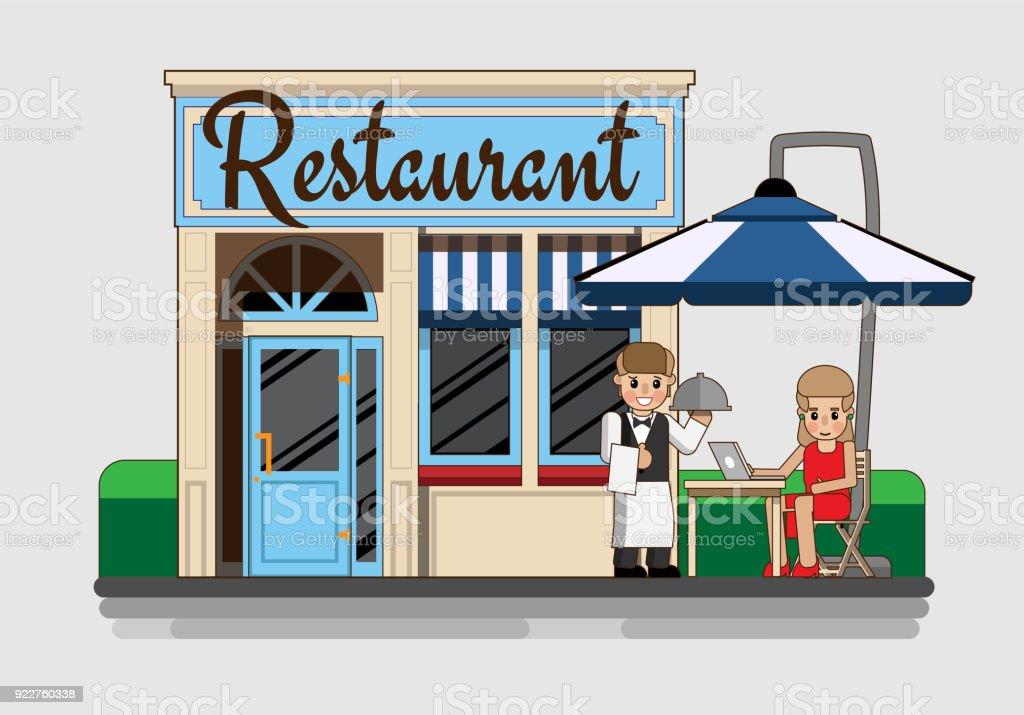 La fachada del restaurante - ilustración de arte vectorial