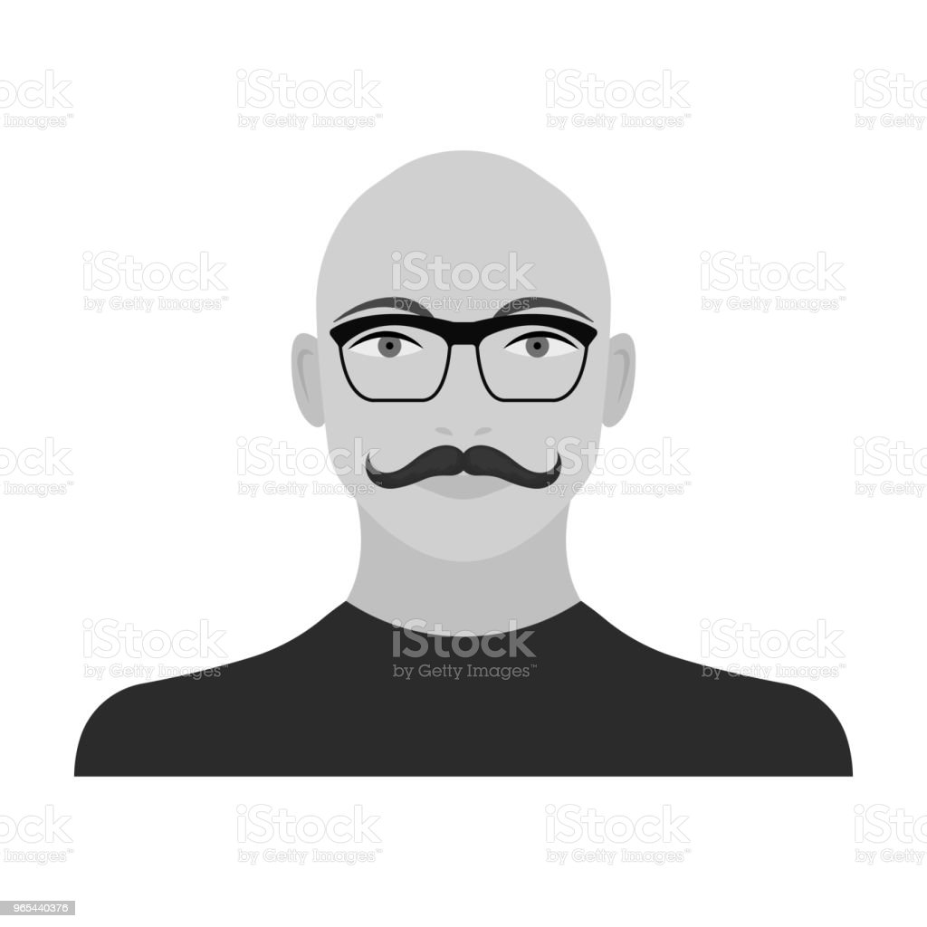 The face of a bald man with a mustache in glasses. Face and appearance single icon in monochrome style vector symbol stock illustration web. royalty-free the face of a bald man with a mustache in glasses face and appearance single icon in monochrome style vector symbol stock illustration web stock vector art & more images of adult