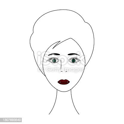 The face of a vampire girl. Head of a woman full face. Vector illustration. Short pixie haircut. Plump lips. White fangs. Carnival lenses on the eyes. Mysterious female portrait. Isolated white background.