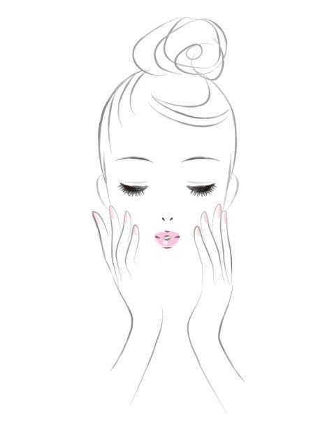 スキンケアで女性の顔。美のイメージ。 - スキンケア点のイラスト素材/クリップアート素材/マンガ素材/アイコン素材