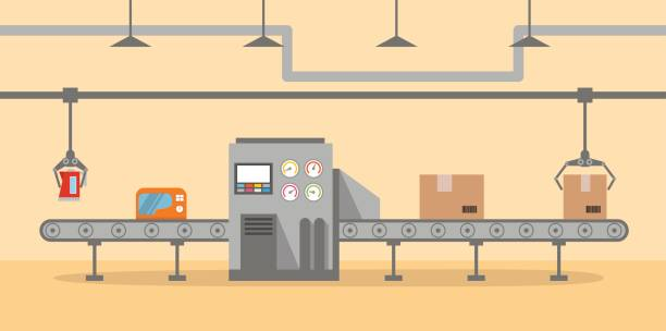 The factory conveyor on packing in flat style. vector art illustration
