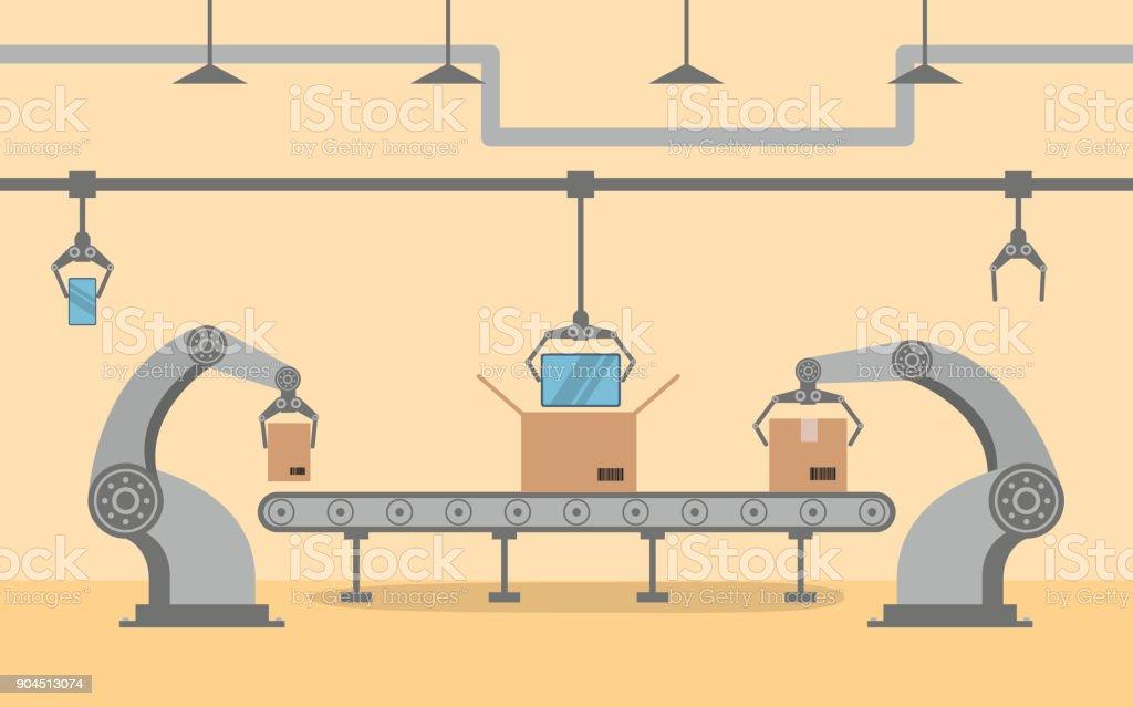 De fabriek transportband op smartphone verpakken in een doos in vlakke stijl. Robotic hand, arm, aanwijsapparaat. Productielijn met kartonnen dozen.vectorkunst illustratie