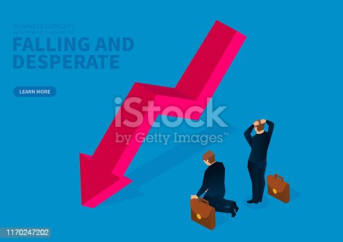 618516848istockphoto The falling arrow makes the businessman feel desperate and helpless 1170247202