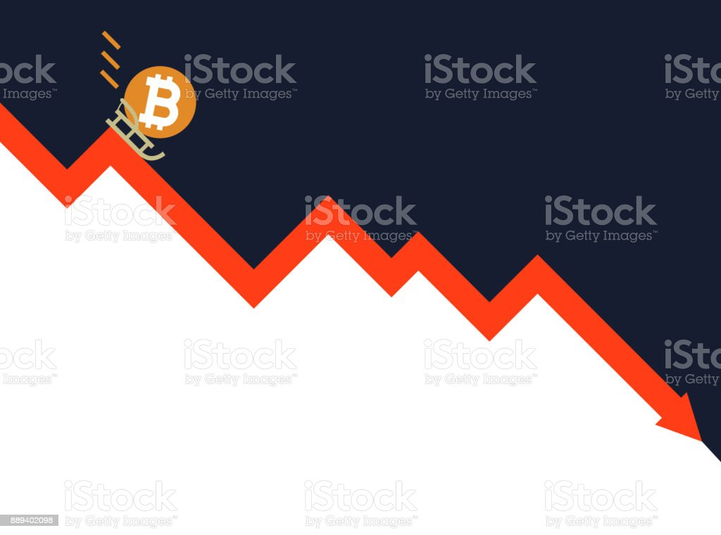 The falling of Bitcoin vector illustration vector art illustration