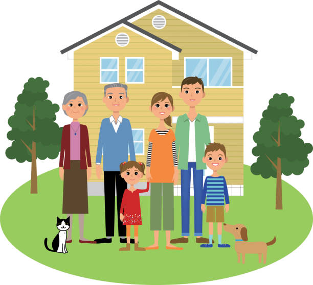The family and home vector art illustration