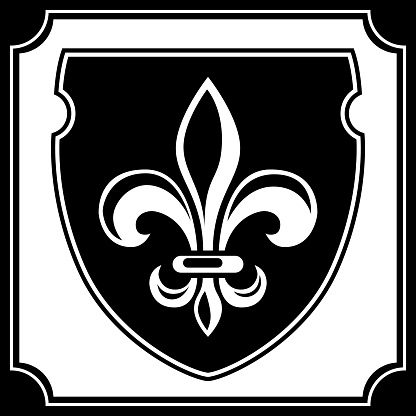 The family coat of arms is a seal in the form of a shield with a fleur-de-lis