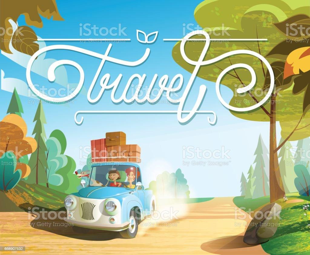 La familia va en coche de vacaciones, familia con mascotas - ilustración de arte vectorial