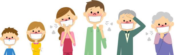 the family of physical condition badness - くしゃみ 日本人点のイラスト素材/クリップアート素材/マンガ素材/アイコン素材