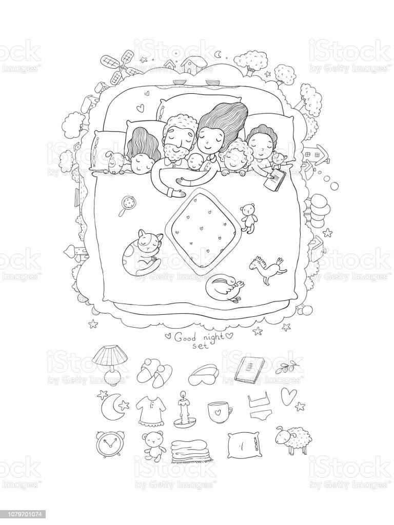 La Famille Dort Dans Son Lit Bébé Papa Et Maman De Dessin