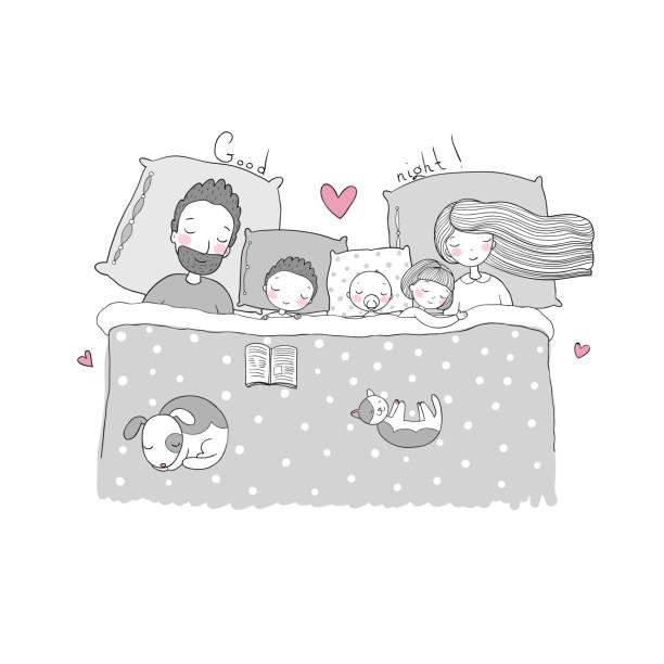 bildbanksillustrationer, clip art samt tecknat material och ikoner med familjen sover i sängen. - cosy pillows mother child