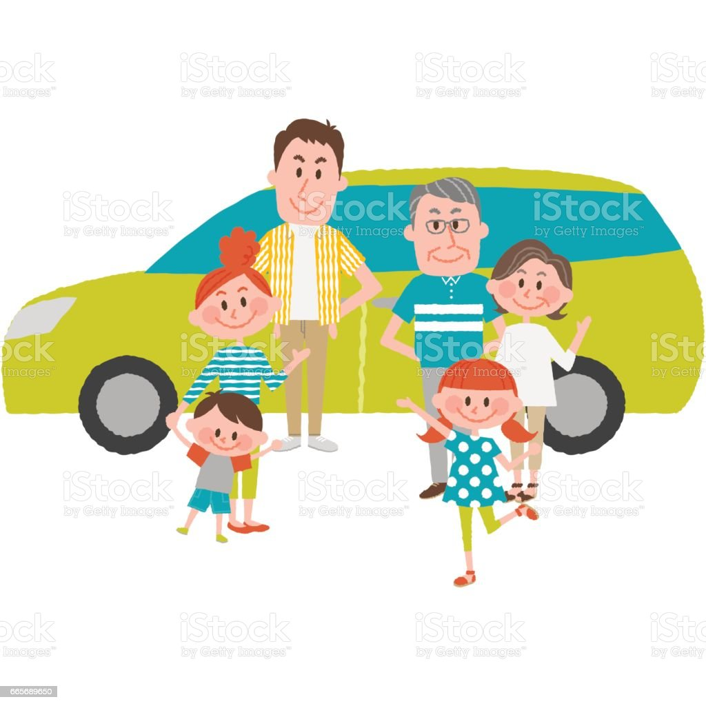 車で外出する家族 ベクターアートイラスト