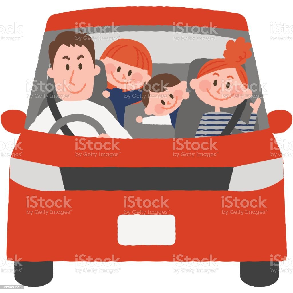 the family to go out by car vector art illustration
