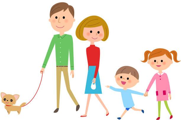 犬を散歩家族 - 母娘 笑顔 日本人点のイラスト素材/クリップアート素材/マンガ素材/アイコン素材