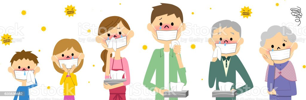The family with hay fever vector art illustration