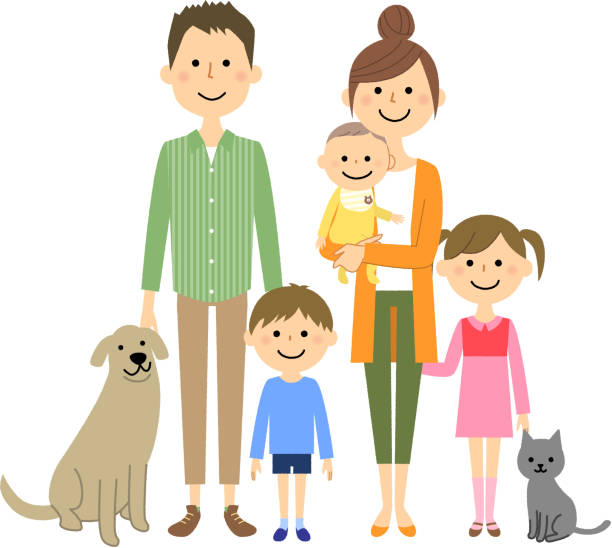 The family with I'm on good terms vector art illustration