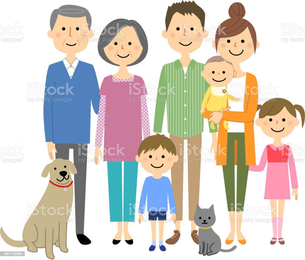 私の家族は仲が良いよ - イラストレーションのロイヤリティフリーベクトルアート