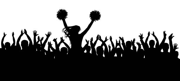 ilustrações de stock, clip art, desenhos animados e ícones de the fans cheering along with the cheerleader silhouette. crowd. sport. vector illustration - adeptos