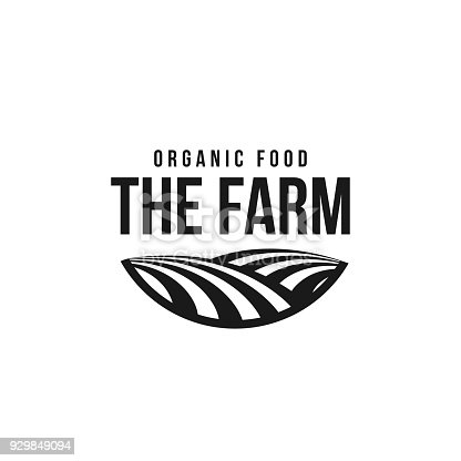 The farm icon template. Meadow silhouette, land symbol with horizon in perspective. Farm food badge. Vector