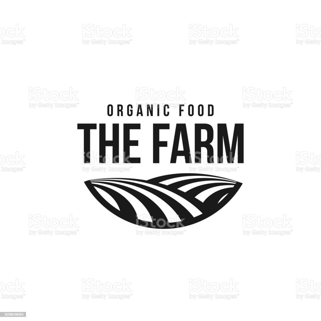 The farm icon template. Meadow silhouette, land symbol with horizon in perspective. Farm food badge vector art illustration