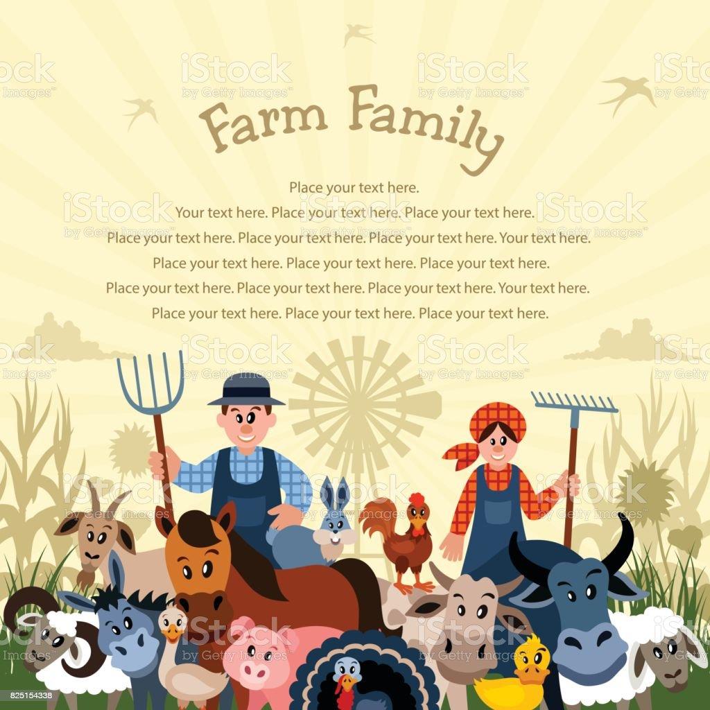 O agricultor e sua família - ilustração de arte em vetor