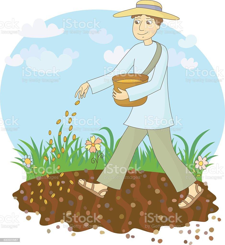 The farmer sows grain vector art illustration