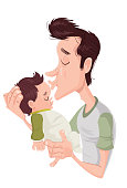Illustration inspired on Father's Day. In her a father kisses his son still baby.