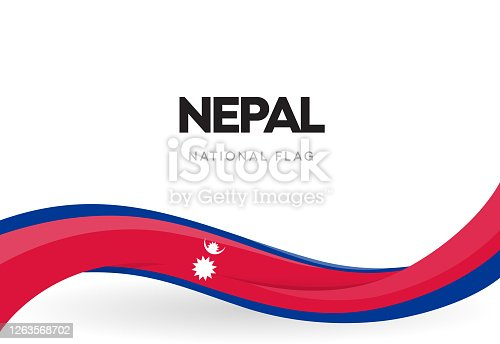 The Federal Democratic Republic of Nepal waving flag banner. Nepali national holiday celebration poster. Patriotic Nepalese ribbon vector illustration.Independence day anniversary.Day of the Republic