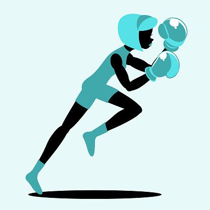 The female boxer in silhouette