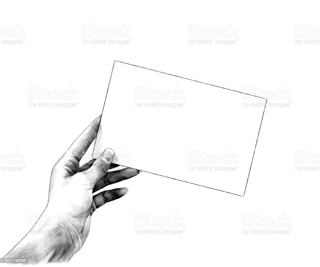 the female hand sticks out from the side and holds the rectangular card blank vector art illustration