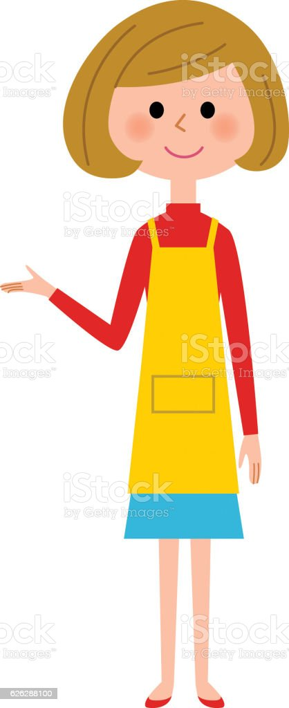 The female of the apron who explains ベクターアートイラスト