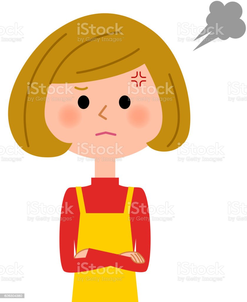 The female of the apron who gets angry vector art illustration