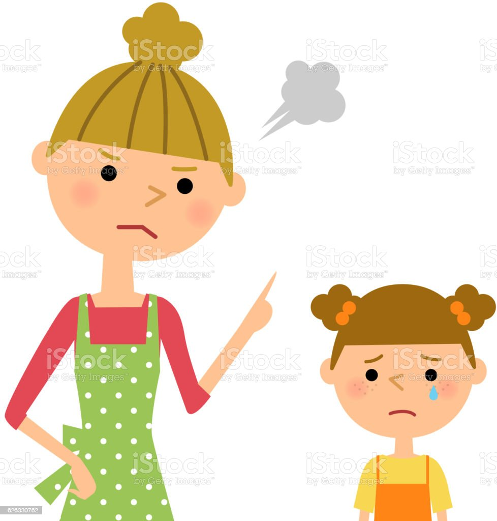 The female of the apron who scolds a child vector art illustration