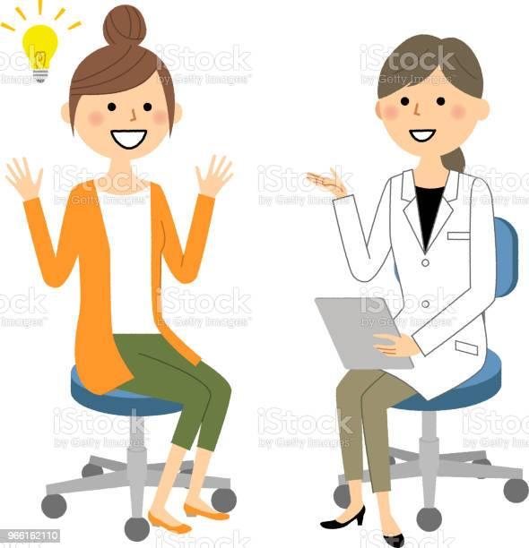 Kvinnligt Av Vita Pälsen Medicinsk Undersökning-vektorgrafik och fler bilder på Apotek