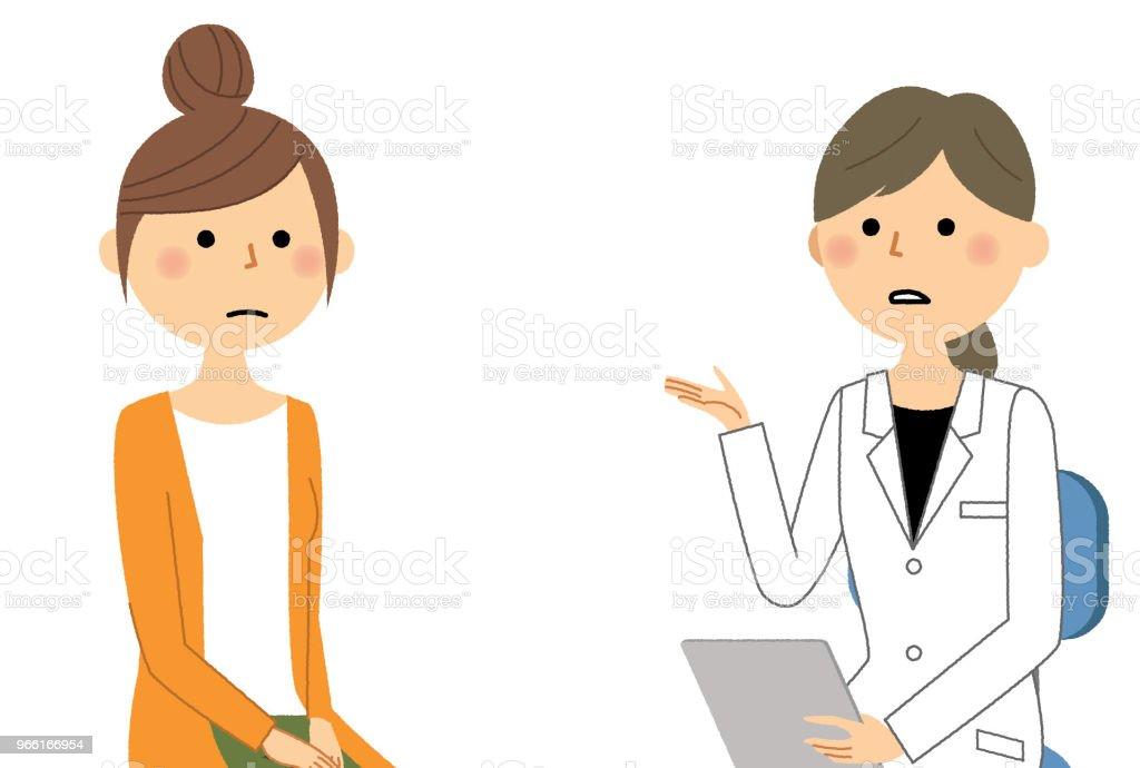 Kvinnligt av vita pälsen, medicinsk undersökning - Royaltyfri Apotek vektorgrafik