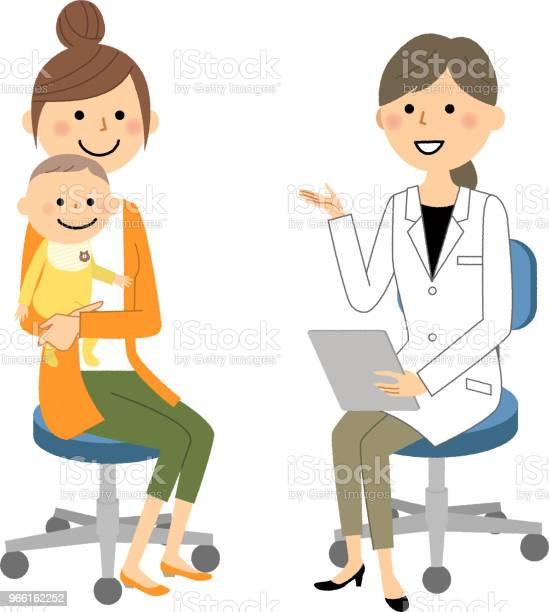 La Femmina Del Camice Bianco Visita Medicababy - Immagini vettoriali stock e altre immagini di Adulto