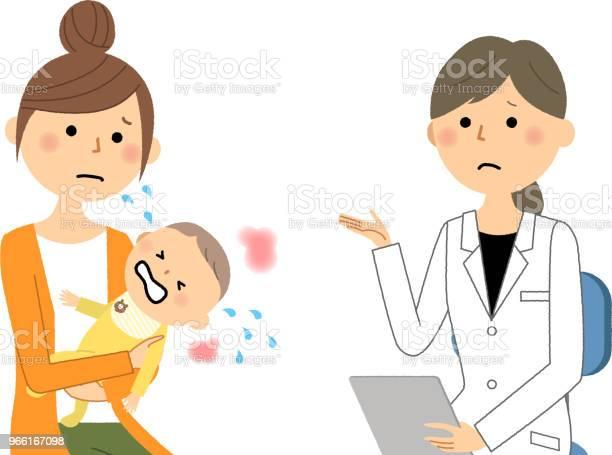 The Female Of The White Coatmedical Examinationbaby - Arte vetorial de stock e mais imagens de Adulto