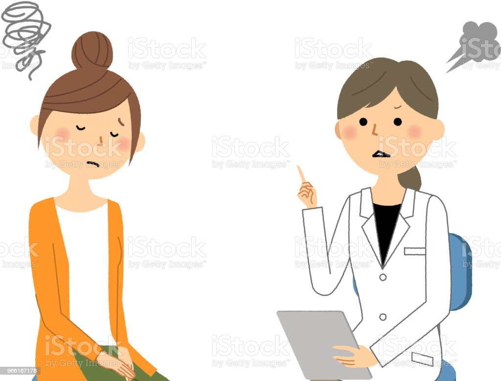 The female of the white coat,Medical examination,Caution - Royalty-free Adult stock vector