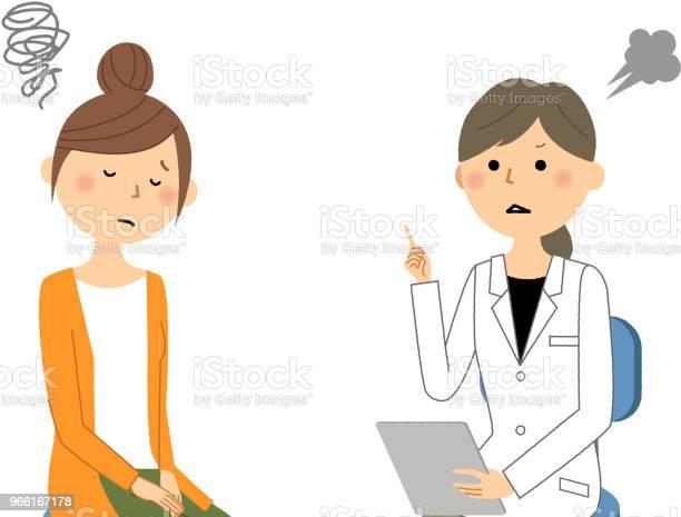 Самка Белого Пальтомедицинское Обследованиеосторожно — стоковая векторная графика и другие изображения на тему Аптека