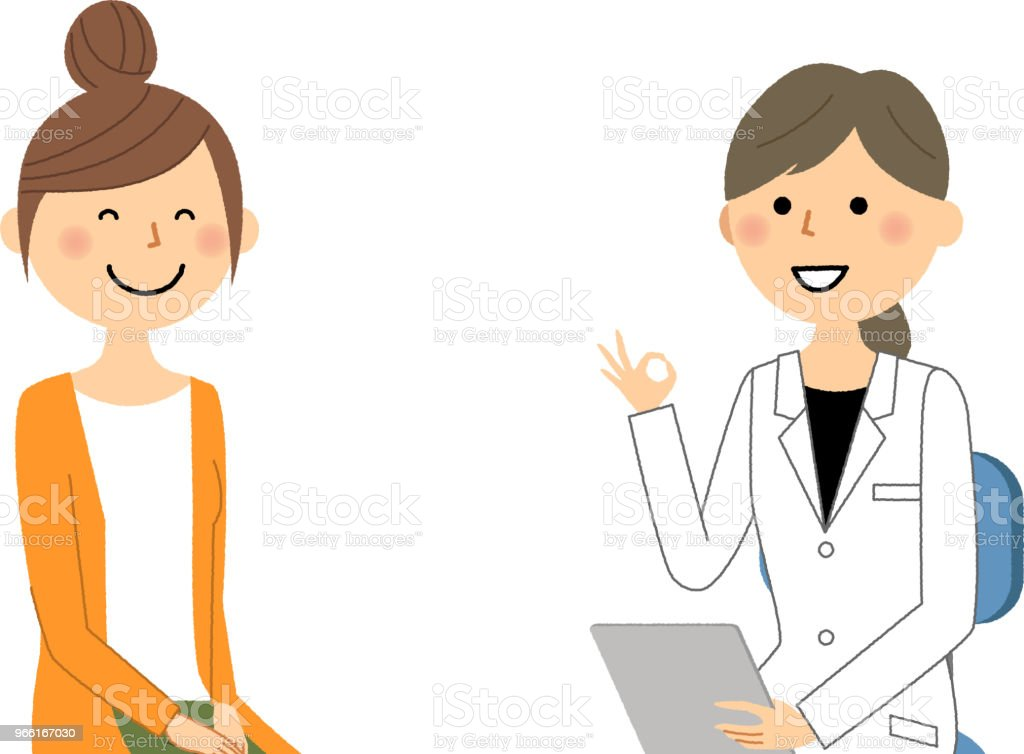 The female of the white coat,Medical examination,OK - Royalty-free Adult stock vector