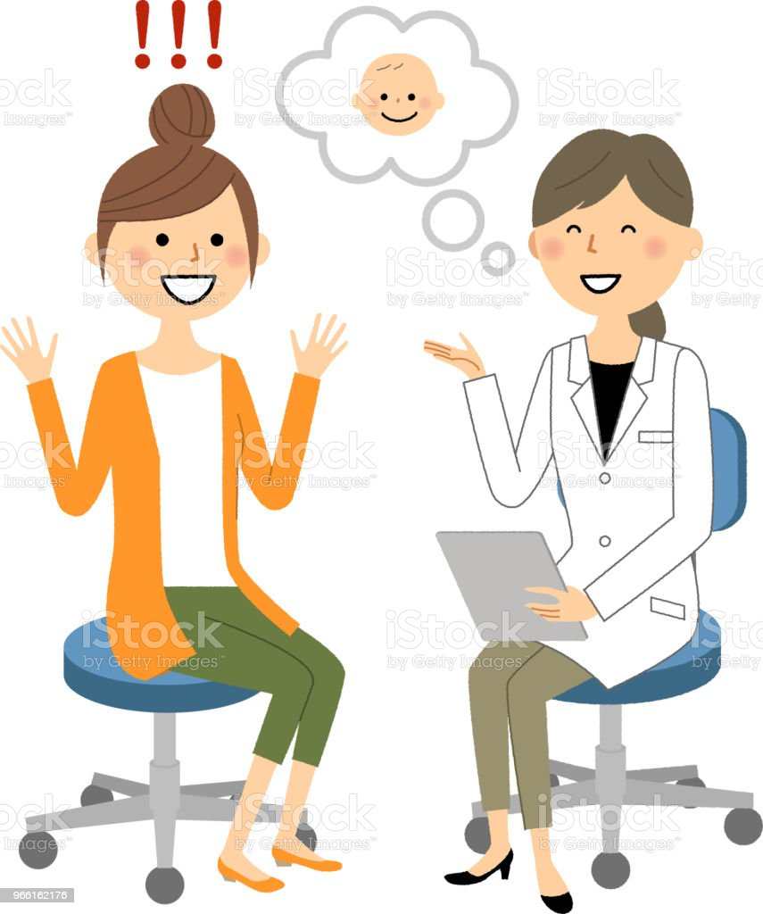The female of the white coat,Medical examination,Pregnancy Illustrations of doctors and patients under examination. Adult stock vector