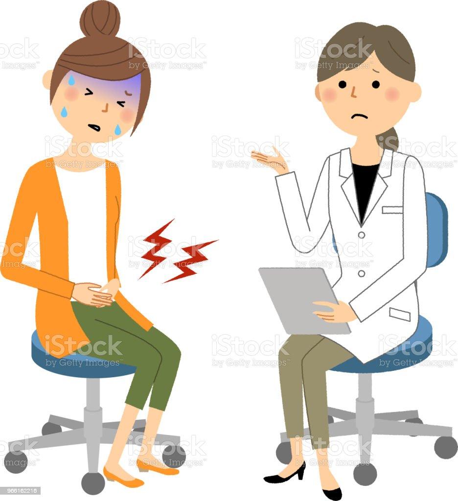 The female of the white coat,Medical examination,Severe pain - Royalty-free Adulto arte vetorial