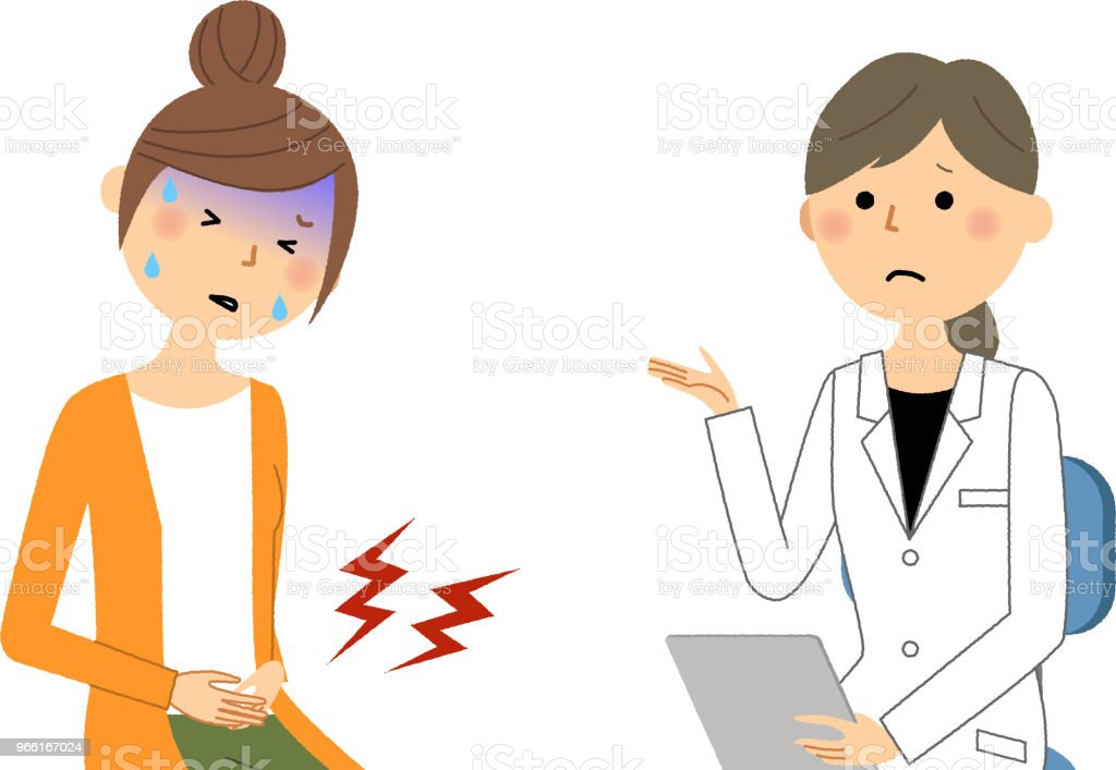 Kvinnligt i vit Rock, läkarundersökning, svår smärta - Royaltyfri Apotek vektorgrafik