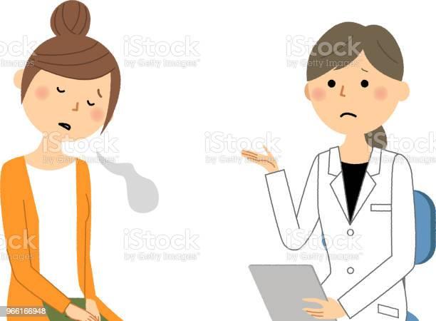 Kvinnligt Av Vita Pälsen Läkarundersökning Suck-vektorgrafik och fler bilder på Apotek