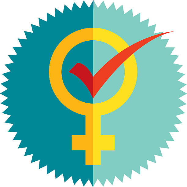 The Female Vote Vector illustration of a woman symbol with a red voting checkmark in the center. Can be used to show the female vote, women voting choices, freedom to vote for women,etc... women's suffrage stock illustrations