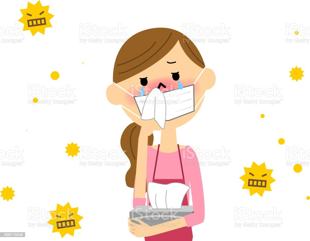 The female with hay fever royalty-free the female with hay fever stock vector art & more images of allergy