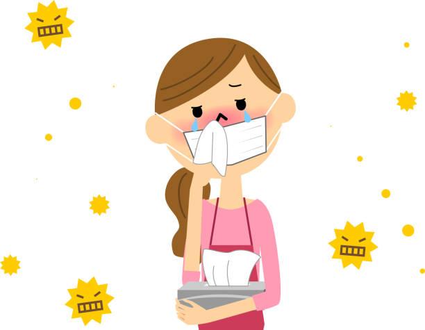 the female with hay fever - くしゃみ 日本人点のイラスト素材/クリップアート素材/マンガ素材/アイコン素材
