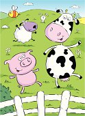 A cool cow, sheep, pig, rabbit and bee in a field.
